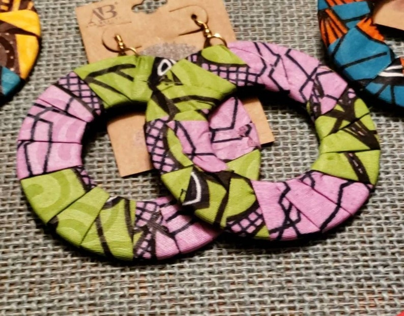 African Ankara Earrings Cotton Fabric Rope Twisted Knot Jewelry Hook w bead Boho Tribal Print Women/'s Jewelry Multicolor Gift Afro Black
