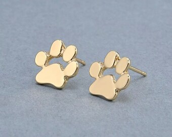 3e7d45676 Cat Or Dog Paw Print Stud Earrings Gold Paws, Silver Paws or Rose Gold Paws  Cool Jewelry