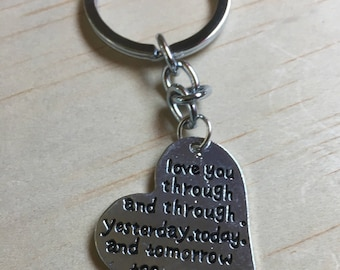 Love You Through and Through Metal Keyring Sentiment Keychain