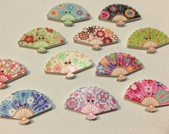 Fan Buttons Painted Wooden Fan Buttons - Craft, Sewing, Scrapbooking Embellishment, Craft Project, Birthday