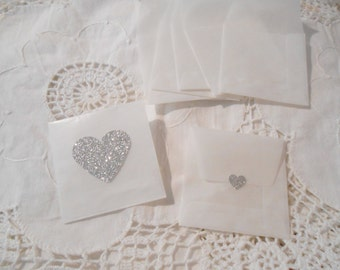 Small Silver Glitter Hearts Glassine Envelopes  - Envelopes and Seals. Silver Sweet Hearts x 10