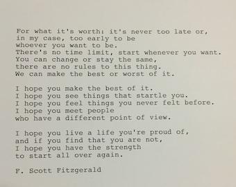 F. Scott Fitzgerald Quote Hand Typed Typewriter Quote -
