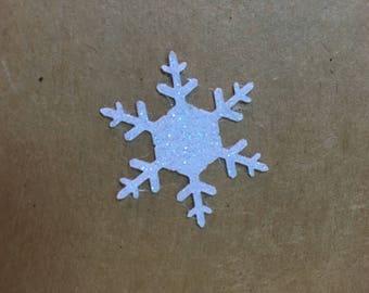 """Snowflake Stickers Snow White Glitter Snowflake Seals- Shimmer White Glitter Snowflake Stickers - 1.25"""" x 25"""