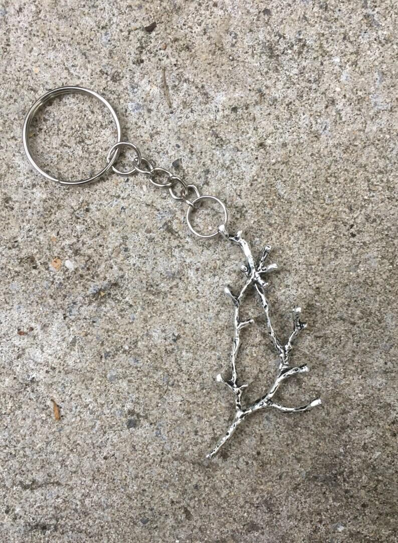 Silver Tree Branch Keyring Twig Silver Metal Keyring Keychain