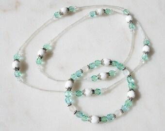 Unique, handmade, matching necklace and bracelet set - glass beaded/elasticated