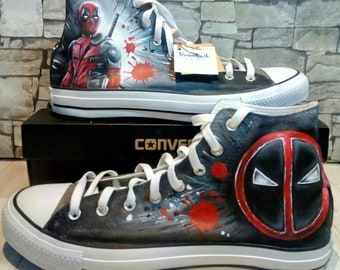 3fa557700566bb Deadpool hand painted shoes