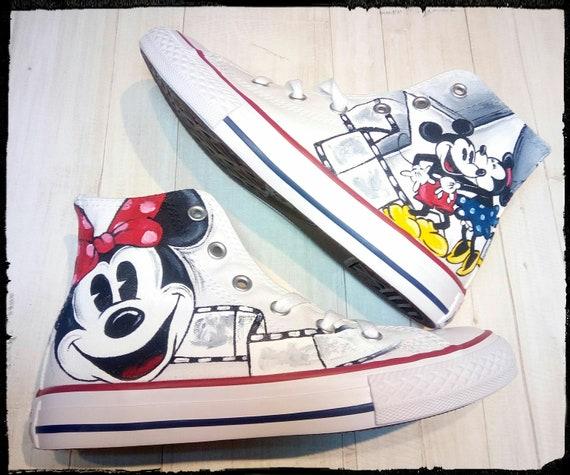 Converse Schuhe Disney Mickey Bemalt Handbemalt Hand Etsy Qbqetx4