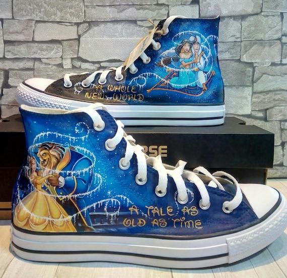 Schone Und Das Biest Disney Schuhe Von Hand Bemalt Schuhe Etsy