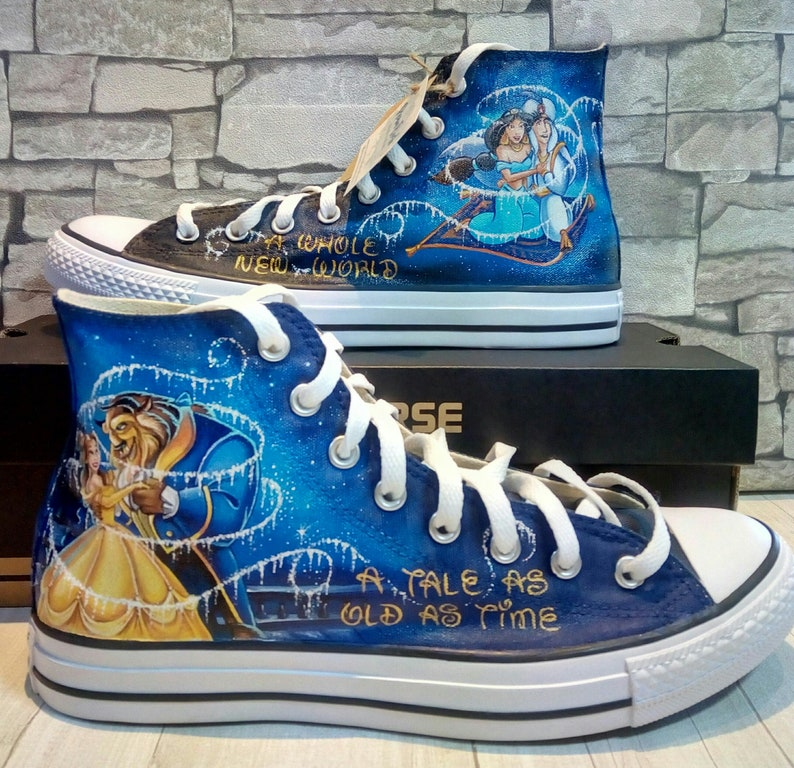 3c0e08a30985 Beauty and the beast Disney shoes hand painted shoes