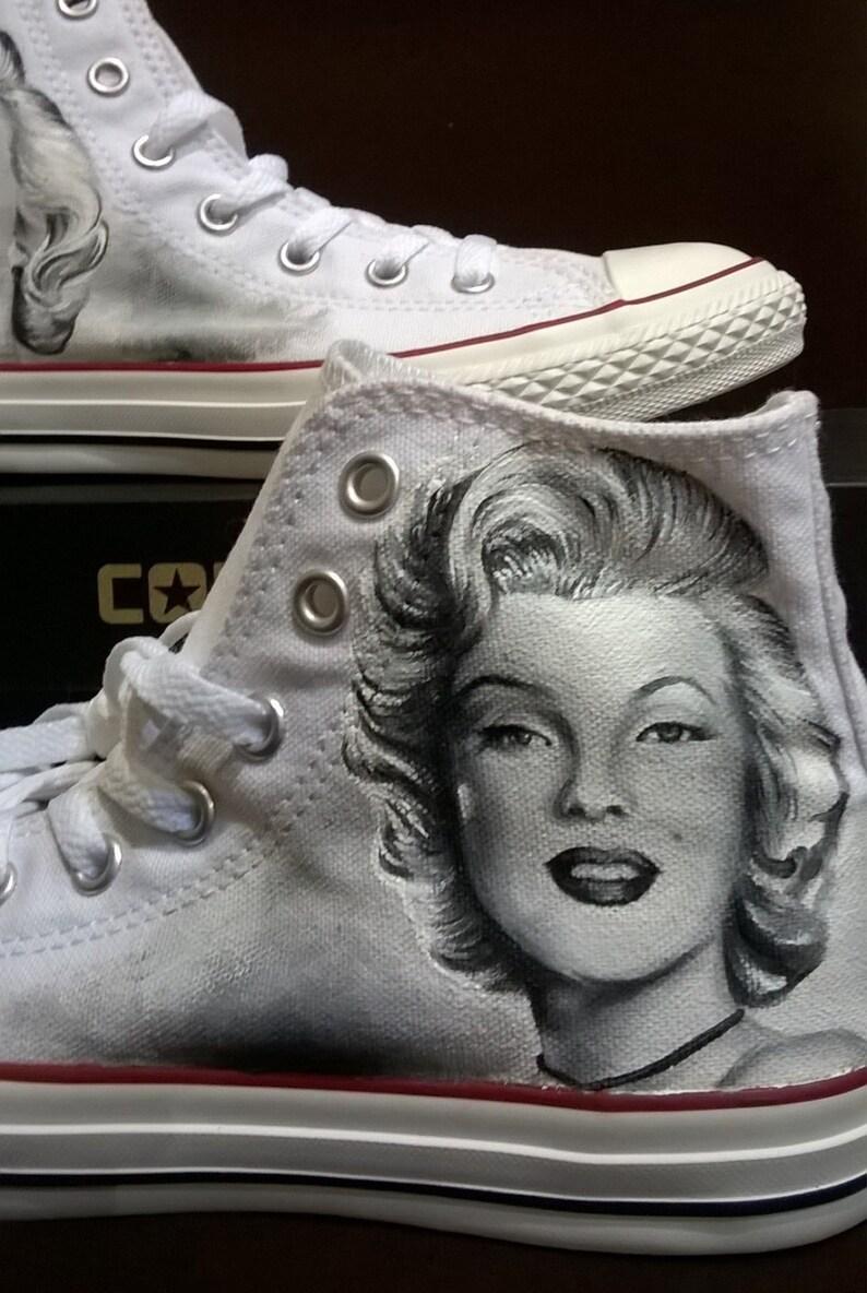 Marilyn Monroe scarpe personalizzate dipinte a mano ritratto zoic398H
