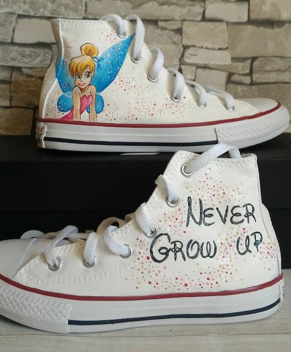 Tinkerbell scarpe conversa,scarpe per bambini, Tinkerbell,scarpe Disney,bridesmiedi regalo,scarpe personalizzate,scarpe dipinte a mano,scarpe sorelle