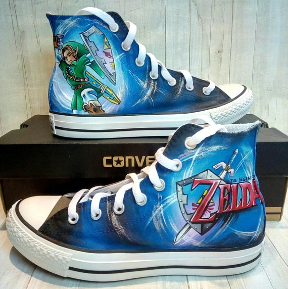 Legend of Zelda themed hand painted Converse shoes , custom wedding shoes , hand painted themed wedding shoes