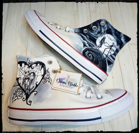 e250bf78c0a Nightmare before Christmas hand painted Converse shoes