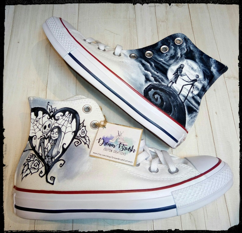 e9d200c1f5867 Nightmare before Christmas hand painted Converse shoes, wedding shoes ,hand  painted wedding shoes,Jack and sally,Tim Burton inspired