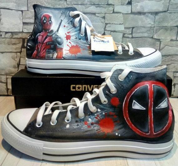 Deadpool handbemalte Schuhe Deadpool Converse handbemalte | Etsy
