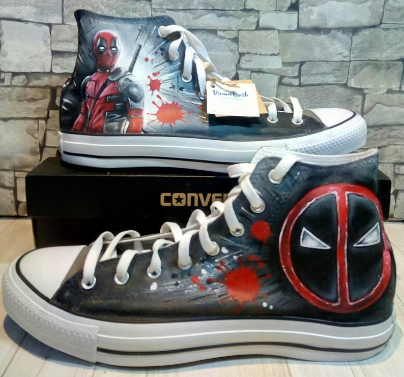 Deadpool hand painted shoes Deadpool Converse hand  37be55b0c7