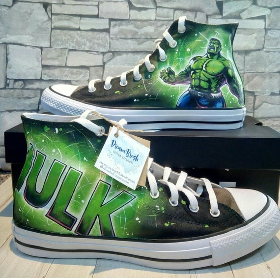 the Hulk custom hand painted Converse shoes,the Hulk converse , Marvel converse , super hero shoes, the incredible Hulk, comic inspired art