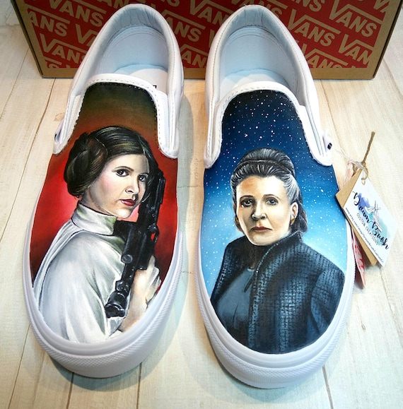 Star wars themed shoes, custom vans shoes,hand painted vans shoes, princess Leia shoes,hand painted shoes,wedding shoes,custom wedding shoes