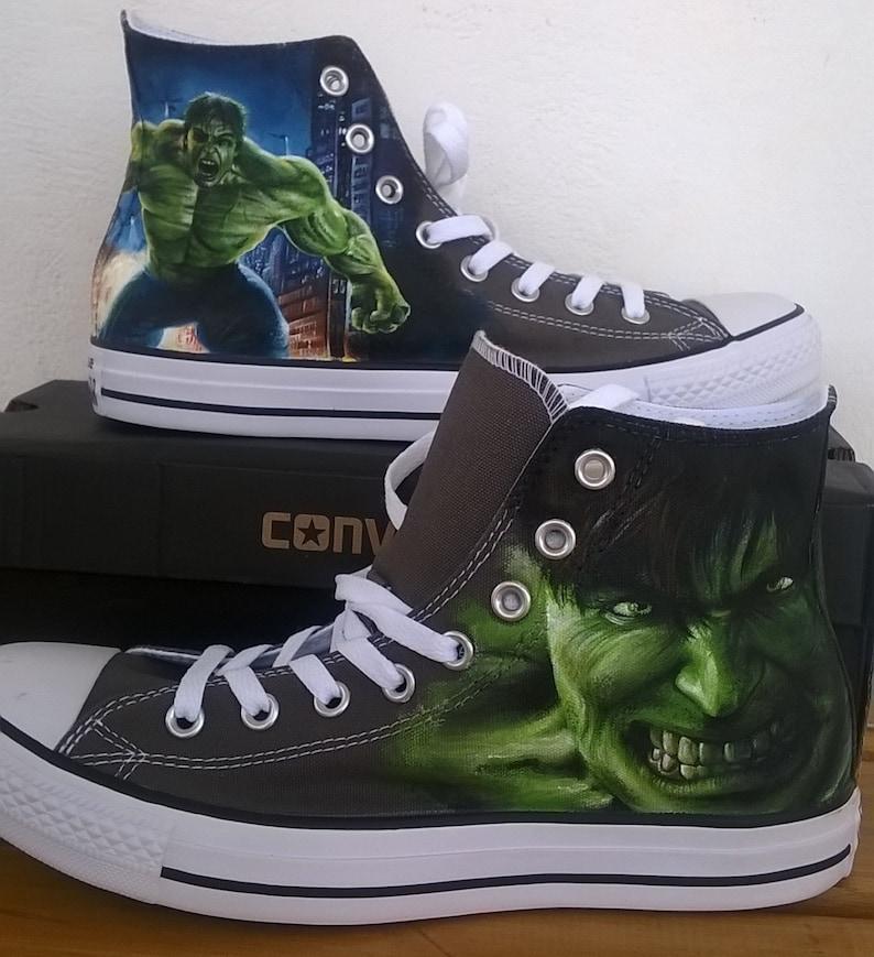 3d149215371e The Hulk hand painted Converse shoessuperhero Marvel shoes