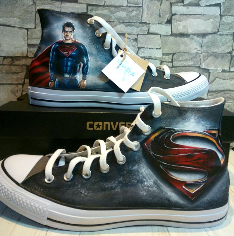 6790b0a133c1 Superman shoes DC hero super-hero shoes custom converse
