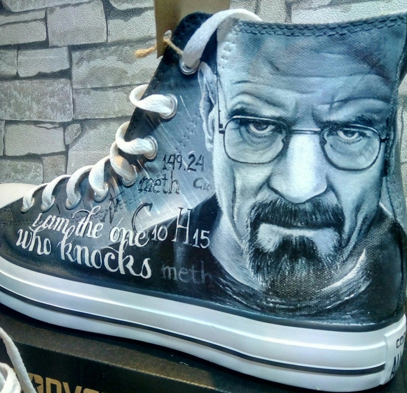 Breaking Bad Custom hand painted Converse shoes,hand painted shoes,Breaking Bad shoes, custom converse shoes,custom vans shoes,breaking bad