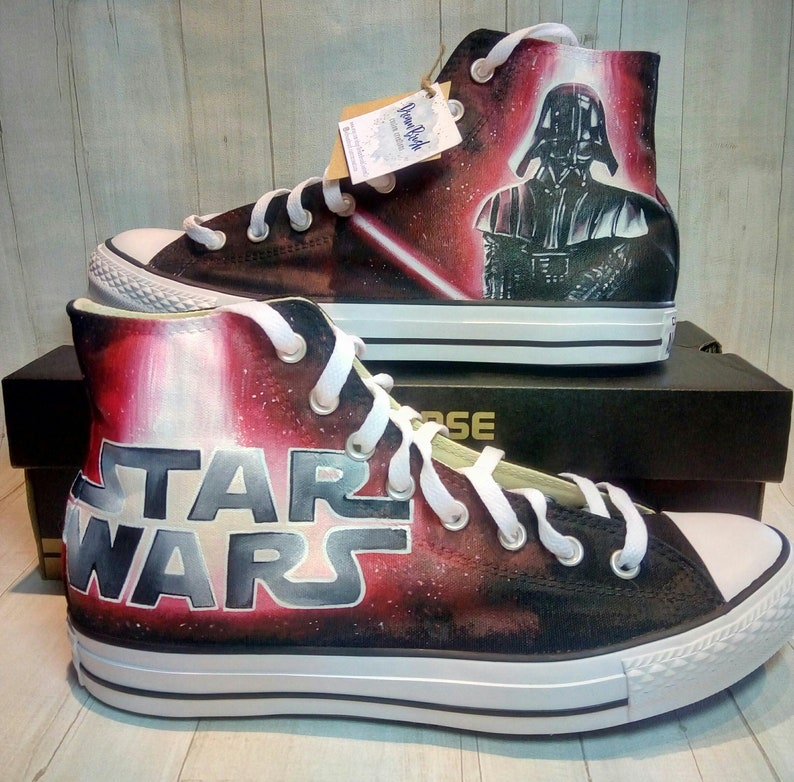 75abdc35a1a265 Star Wars hand painted Converse shoes Darth Vader shoes Star