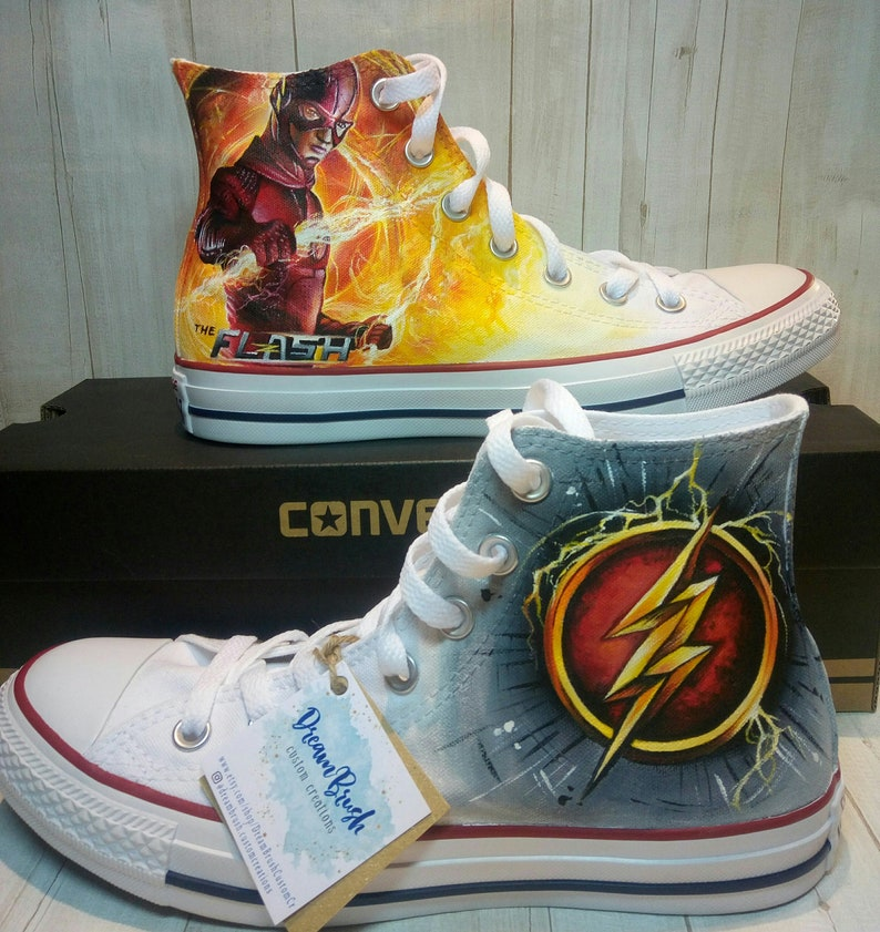 b0ef8425f9be The flash superhero shoes custom converse shoes hand
