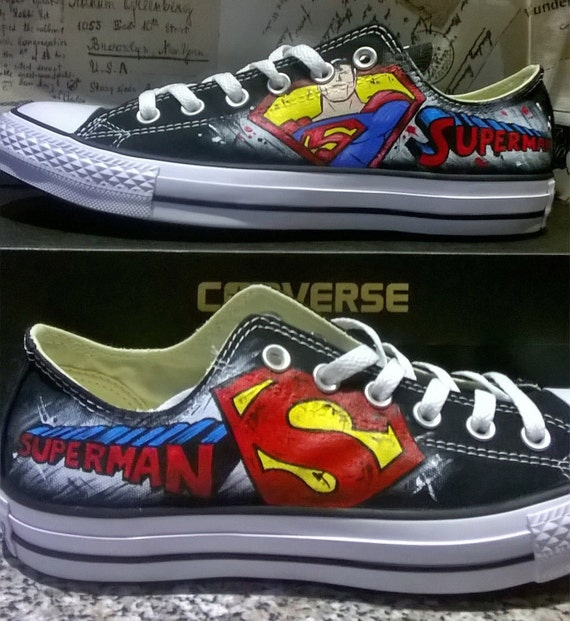 Superman hand painted converse shoes , low tops , hand made shoes , superhero logo , DC heroes, DC comics shoes