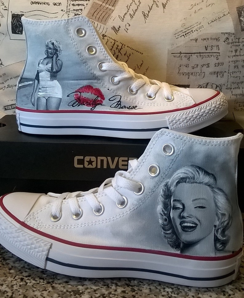 920c2ac1a68420 Marilyn Monroe hand painted custom shoes portrait hand