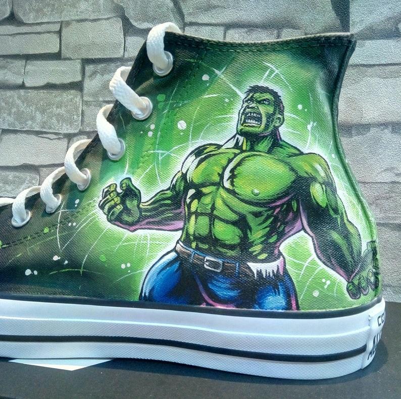 6836faeaf20 The Hulk custom hand painted Converse shoesthe Hulk converse