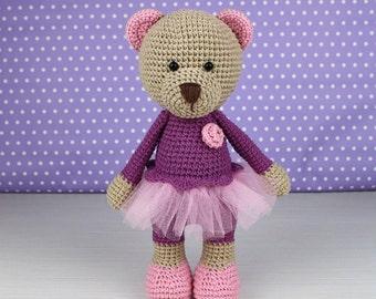 Toy crochet pattern of Girl Bear (Amigurumi tutorial PDF file)