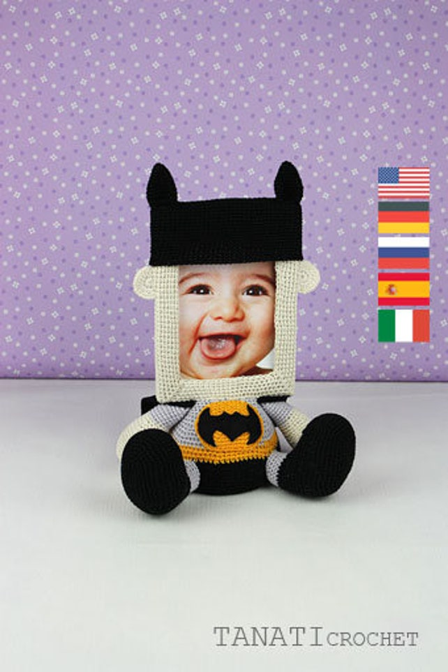 Patrón de ganchillo Batman del marco de la foto | Etsy