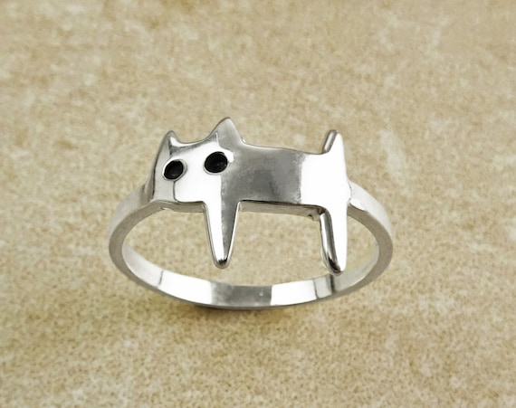 Cute Cat Ring, Stylish Cat Ring, Kitty Ring, Silver Cat Ring, Kitty Ring, Feline Pet Jewelry, kitty jewelry, Pussy Cat Ring, Moggy Cat Ring