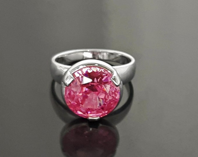 Pink stone ring, sterling silver, original modern solitaire ring, Rose Pink Stone (Cz), stackable with wedding and other rings