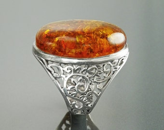 Amber Ring, Sterling Silver 925, GENUINE Amber Oval Stone, Nature Inspired Pattern Filigree, Statement Ring, Bold Gemstone Jewelry