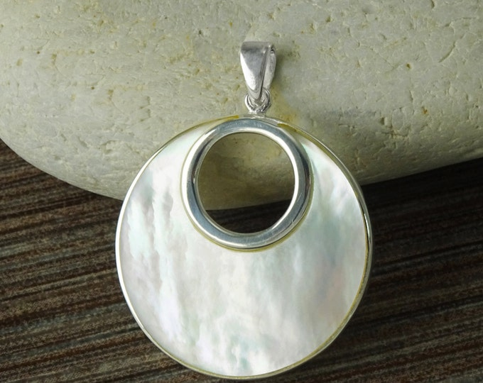 White Round Pendant, Sterling Silver, GENUINE Mother of Pearl Shell with Reflections Jewelry, Unique Geometric Minimalist  Moon Necklace