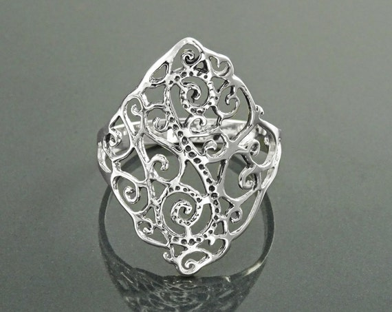 Filigree Ring, Sterling Silver, Antique Style Ring, Large Lace Ring, Wrap Ring, Victorian Filigree Ring, Popular ring, Open Work Ring, Gift
