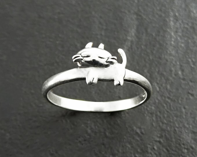Cat Ring, Sterling Silver, Cat Midi Ring, Kitty Ring, Dainty Kitty Ring, Feline Ring, Pet Jewelry, kitty jewelry, Pussy Cat Ring, Moggy Ring