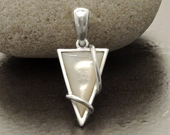 White Triangle Pendant, Sterling Silver, GENUINE White Mother of Pearl Shell, Geometric Style Necklace, Modern Jewelry