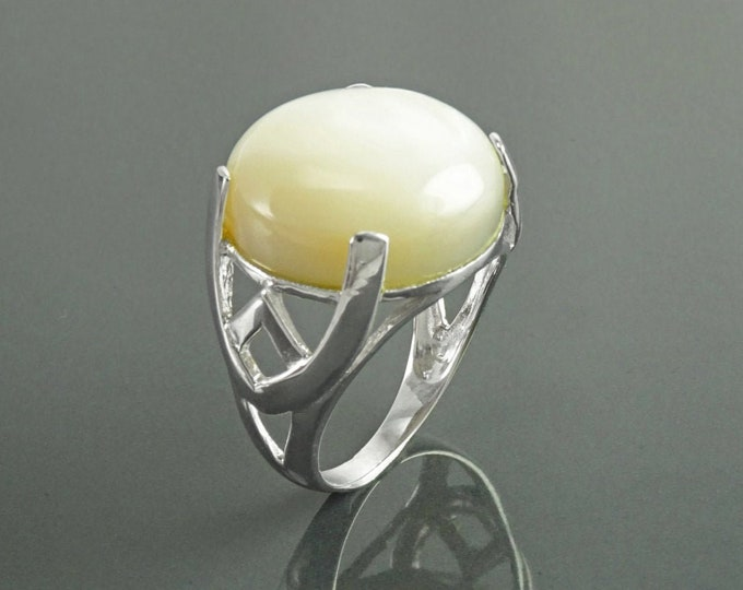 Modern Shell Ring, Sterling Silver, GENUINE Round White Mother of Pearl, Unique Designer Ring, Pearl Jewelry, Original Stone Ring