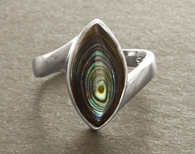 Abalone Bypass Ring - Paua Shell Ring, Sterling Silver, Oval Ring, Genuine Abalone,  green blue color, oval stone, Almond shape, oval stone
