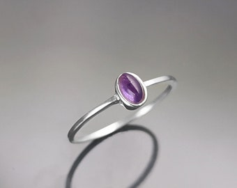 Tiny Amethyst Ring, Sterling Silver, Modern Minimalist Ring, Small Purple Oval Stone, Genuine Amethyst Gemstone, Small Ring, Dainty Ring
