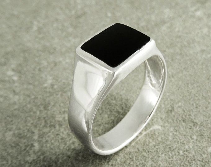 Signet Ring, Sterling Silver, Pinky Ring, Square Onyx ring, Unisex Minimalist Modern Design Jewelry, Father's Day gift