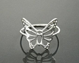 Filigree Butterfly Ring, Sterling Silver Ring, Cute Butterfly Ring, Lace Ring, Stackable Ring, Midi Ring, Filigree Ring, Popular Boho Ring