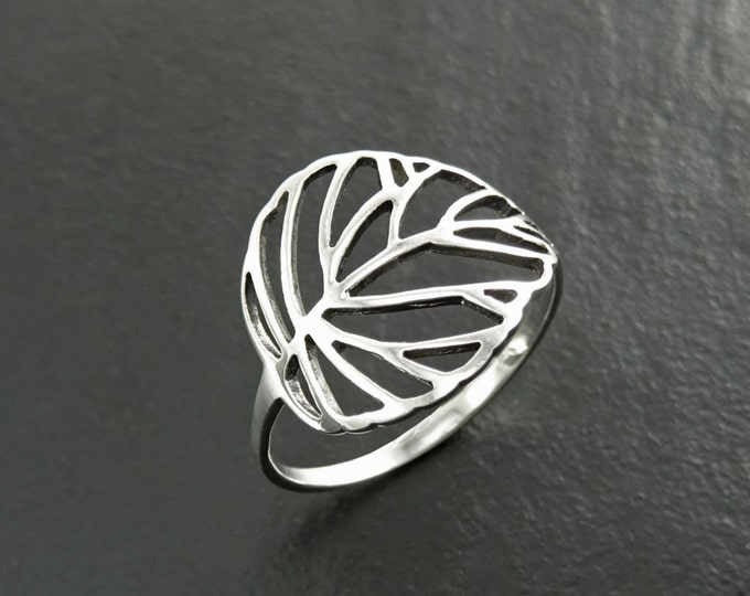 Leaf Ring, Sterling Silver, Rubber Ficus Plant Ring, Filigree Branch, Skeleton Leaf Veins Ring, Tropical, Nature, Greenery Jewelry