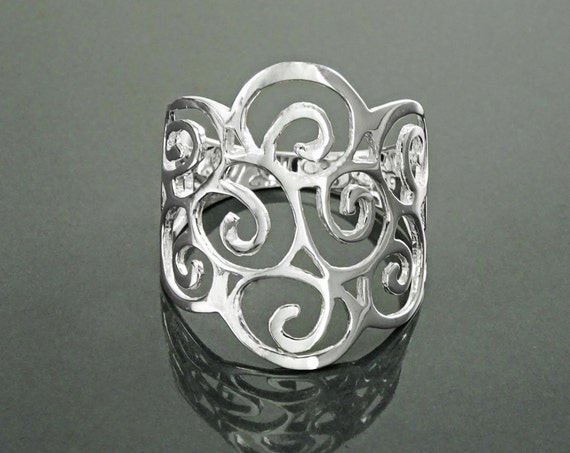 Scroll Filigree Ring, Sterling Silver, Scrolls Design Ring, Spirals Pattern Ring, Wide Band Ring, Elegant Ring, Lace Ring, Open Work Ring