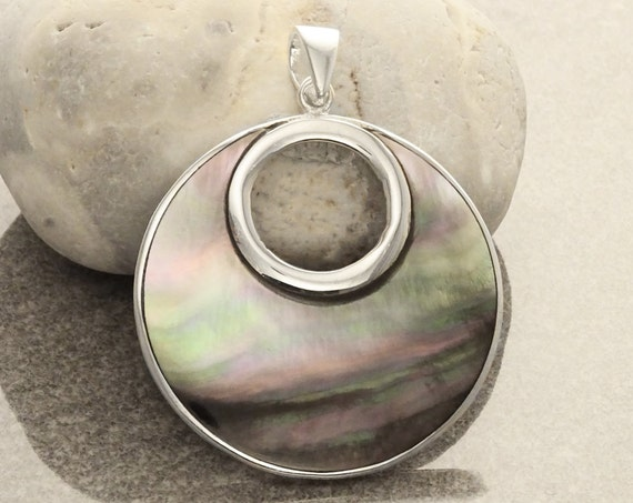 GENUINE Gray Paua Shell Unique Round Pendant, Sterling Silver, Grey Pearl with Iridescent Rainbow Highlights, Geometric Minimalist Pendant