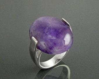 Genuine Amethyst Ring - Sterling Silver - Geometric Ring - Oval Shape - Designer Ring - Modern Ring - Minimalist Ring - Everyday - Purple