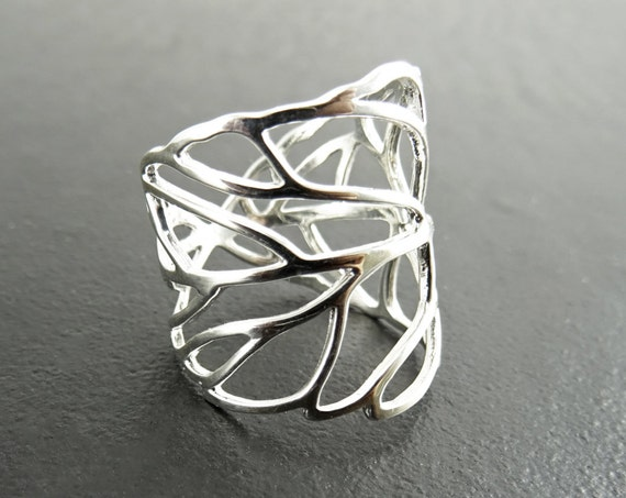 Skeleton Leaf Ring, Sterling Leaf Ring, Leaf Veins Ring, Laurel Ring, Vine Ring, Wrap Around Ring, Branch Ring, Cuff ring, Nature Jewelry