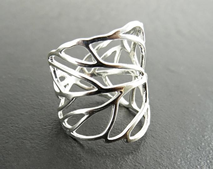 Skeleton Leaf Ring, Sterling Leaf Ring, Leaf Veins Ring, Laurel Ring, Vine Ring, Wrap Around Ring, Branch Ring, Cuff ring, Nature Jewelry